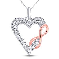 1/8 CTW Round Diamond Heart Infinity Pendant 10kt Two-tone Gold - REF-11R9H