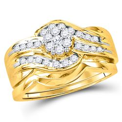1/2 CTW Round Diamond Bridal Wedding Engagement Ring 14kt Yellow Gold - REF-69H3W