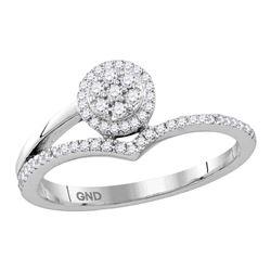 1/4 CTW Round Diamond Cluster Chevron Fashion Ring 10kt White Gold - REF-20M3A