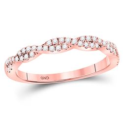 1/4 CTW Round Diamond Woven Twist Stackable Ring 10kt Rose Gold - REF-22X8T