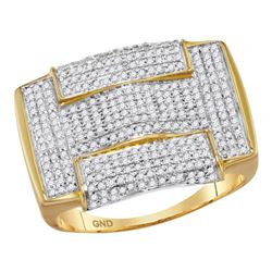 1 CTW Mens Round Pave-set Diamond Rectangle Arched Cluster Ring 10kt Yellow Gold - REF-47R9H