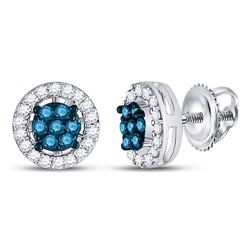 1/4 CTW Round Blue Color Enhanced Diamond Cluster Stud Screwback Earrings 10kt White Gold - REF-15X3
