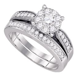 3/4 CTW Round Diamond Bridal Wedding Engagement Ring 14kt White Gold - REF-99A6N