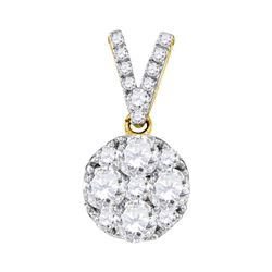 1 CTW Round Diamond Cluster Pendant 10kt Yellow Gold - REF-93T3K