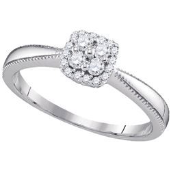 1/5 CTW Round Diamond Square Halo Cluster Ring 10kt White Gold - REF-18W3F