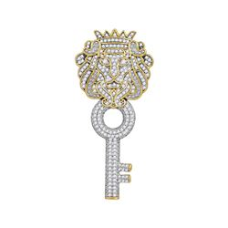 7/8 CTW Mens Round Diamond King Lion Key Charm Pendant 10kt Yellow Gold - REF-54H3W
