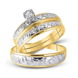 1/20 CTW His & Hers Round Diamond Solitaire Matching Bridal Wedding Ring 10kt Yellow Gold - REF-24M3