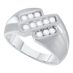 1/2 CTW Mens Round Channel-set Diamond Triple Row Ring 10kt White Gold - REF-41F9M