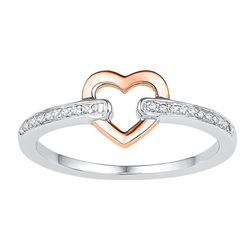 1/20 CTW Round Diamond Heart Ring 10kt Two-tone Gold - REF-13W2F