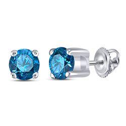 1/4 CTW Round Blue Color Enhanced Diamond Solitaire Stud Earrings 10kt White Gold - REF-11T9K