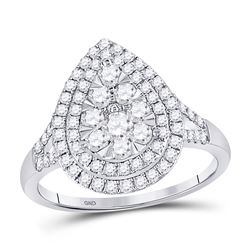 1 CTW Round Diamond Fashion Pear Cluster Ring 14kt White Gold - REF-77Y9X