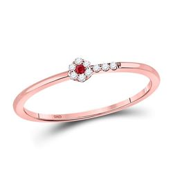 1/20 CTW Round Ruby Diamond Stackable Ring 10kt Rose Gold - REF-8W4F