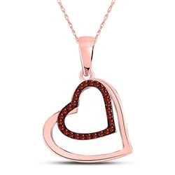 1/10 CTW Round Red Color Enhanced Diamond Heart Pendant 10kt Rose Gold - REF-11X9T
