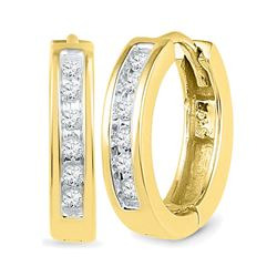 1/8 CTW Round Diamond Hoop Earrings 10kt Yellow Gold - REF-16W8F