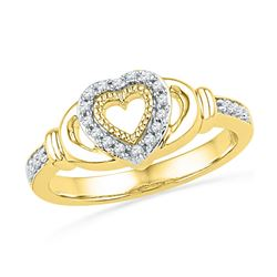 1/8 CTW Round Diamond Milgrain Heart Ring 10kt Yellow Gold - REF-18H3W