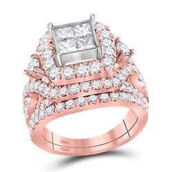 3 & 1/3 CTW Princess Diamond Cluster Bridal Wedding Engagement Ring 14kt Rose Gold - REF-269F9M