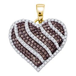 1 CTW Round Brown Diamond Striped Heart Pendant 10kt Yellow Gold - REF-54M3A