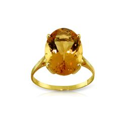 Genuine 6 ctw Citrine Ring 14KT Yellow Gold - REF-44A4K