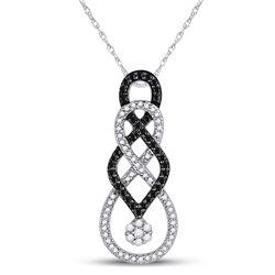 1/3 CTW Round Black Color Enhanced Diamond Cluster Pendant 10kt White Gold - REF-24X3T
