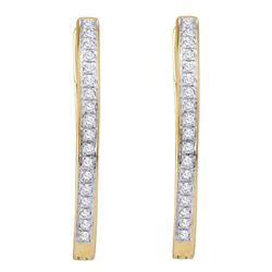 1/10 CTW Round Diamond Single Row Hoop Earrings 10kt Yellow Gold - REF-14M4A