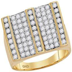 1 & 3/4 CTW Mens Round Diamond Square Striped Cluster Ring 14kt Yellow Gold - REF-137Y9X