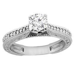 0.65 CTW Diamond Ring 14K White Gold - REF-147Y4V