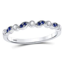 1/10 CTW Round Blue Sapphire Diamond Stackable Ring 10kt White Gold - REF-14T4K