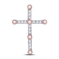 1/4 CTW Round Diamond Cross Faith Pendant 10kt Two-tone Gold - REF-16A8N