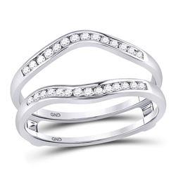 1/4 CTW Round Diamond Ring 14kt White Gold - REF-28X8T