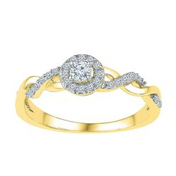 1/5 CTW Round Diamond Solitaire Bridal Wedding Engagement Ring 10kt Yellow Gold - REF-18M3A