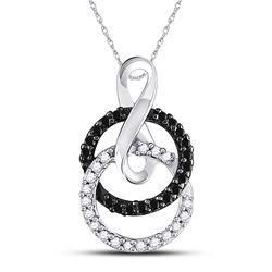 1/5 CTW Round Black Color Enhanced Diamond Double Circle Pendant 10kt White Gold - REF-13A2N