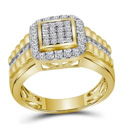 1 CTW Mens Round Diamond Square Frame Cluster Ring 10kt Yellow Gold - REF-71M9A