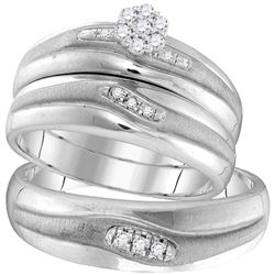 1/6 CTW His & Hers Round Diamond Cluster Matching Bridal Wedding Ring 10kt White Gold - REF-39H6W