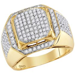 1 & 1/2 CTW Mens Round Diamond Square Elevated Cluster Ring 10kt Yellow Gold - REF-101K9R