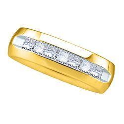 1 CTW Mens Princess Channel-set Diamond Wedding Anniversary Ring 14kt Yellow Gold - REF-162W3F