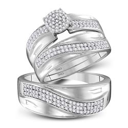 1/2 CTW His & Hers Round Diamond Cluster Matching Bridal Wedding Ring 10kt White Gold - REF-54F3M