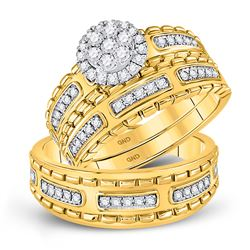 5/8 CTW His & Hers Round Diamond Cluster Matching Bridal Wedding Ring 14kt Yellow Gold - REF-95R9H