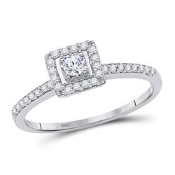 1/4 CTW Round Diamond Solitaire Square Halo Bridal Engagement Ring 10kt White Gold - REF-18K3R