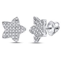 1/6 CTW Mens Round Diamond Star Cluster Earrings 10kt White Gold - REF-9A6N