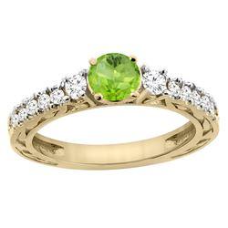 1.10 CTW Peridot & Diamond Ring 14K Yellow Gold - REF-79N3Y