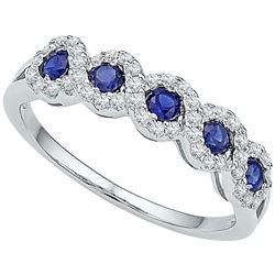 1/2 CTW Round Lab-Created Blue Sapphire Ring 10kt White Gold - REF-18A3N