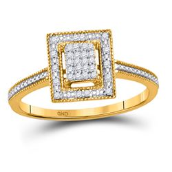 1/10 CTW Round Diamond Square Cluster Ring 10kt Yellow Gold - REF-11A9N