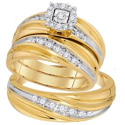 3/8 CTW His & Hers Round Diamond Solitaire Matching Bridal Wedding Ring 10kt Yellow Gold - REF-54T3K