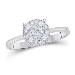 1/2 CTW Princess Diamond Cluster Bridal Wedding Engagement Ring 14kt White Gold - REF-57A3N