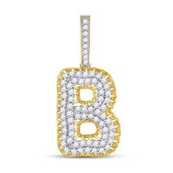 1 & 3/8 CTW Mens Round Diamond B Letter Charm Pendant 10kt Yellow Gold - REF-73H5W