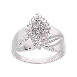 1/8 CTW Round Diamond Cluster Ring 10kt White Gold - REF-18T3K