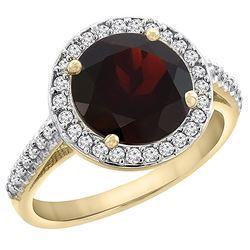 2.44 CTW Garnet & Diamond Ring 14K Yellow Gold - REF-57M3K