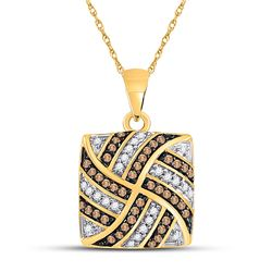1/4 CTW Brown Diamond Square Cluster Pendant 10kt Yellow Gold - REF-14R4H