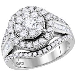 2 CTW Round Diamond Cluster Bridal Wedding Engagement Ring 10kt White Gold - REF-167W9F
