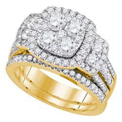 2 CTW Round Diamond Cluster Bridal Wedding Engagement Ring 14kt Yellow Gold - REF-215W9F